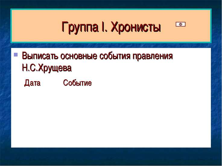 Группа I. Хронисты Выписать основные события правления Н.С.Хрущева Дата Событие