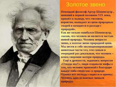 Золотое звено Немецкий философ Артур Шопенгауэр , живший в первой половине XI...