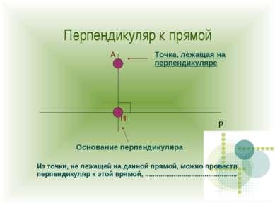 Перпендикуляр к прямой Н А Основание перпендикуляра Точка, лежащая на перпенд...