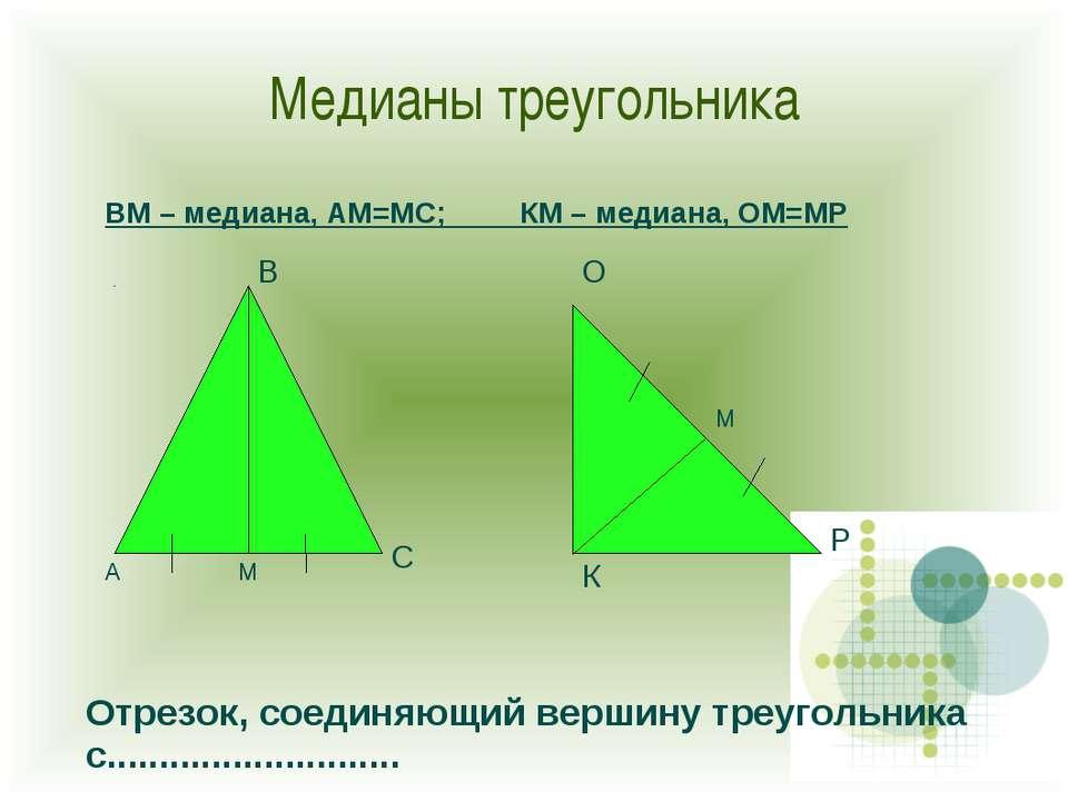 Медианы треугольника А В С К О Р М М ВМ – медиана, АМ=МС; КМ – медиана, ОМ=МР...