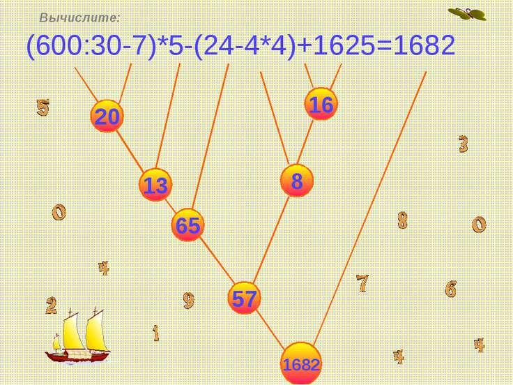 (600:30-7)*5-(24-4*4)+1625=1682 Вычислите: