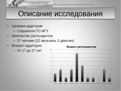 Описание исследования Целевая аудитория Слушатели ПО МГУ Количество респонден...
