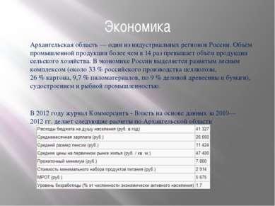 Экономика Архангельская область— один из индустриальных регионов России. Объ...
