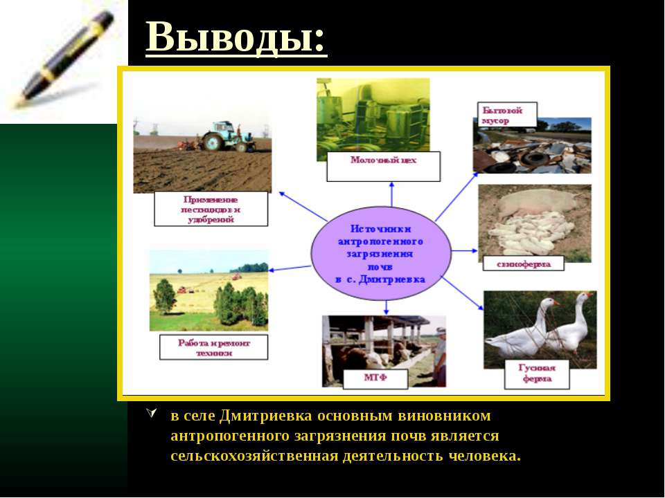 Выводы: в селе Дмитриевка основным виновником антропогенного загрязнения почв...