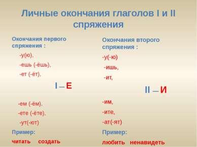 Личные окончания глаголов I и II спряжения Окончания первого спряжения : -у(ю...