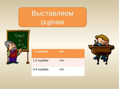 Выставляем оценки 0 ошибок «5» 1-2 ошибки «4» 3-4 ошибки «3»